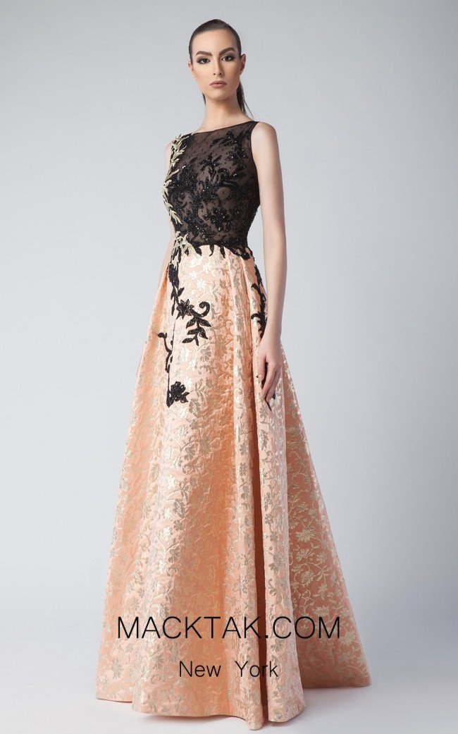 Edward Arsouni FW0244 Clementine Gold Front Dress