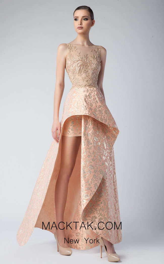 Edward Arsouni FW0245 Clementine Gold Front Dress