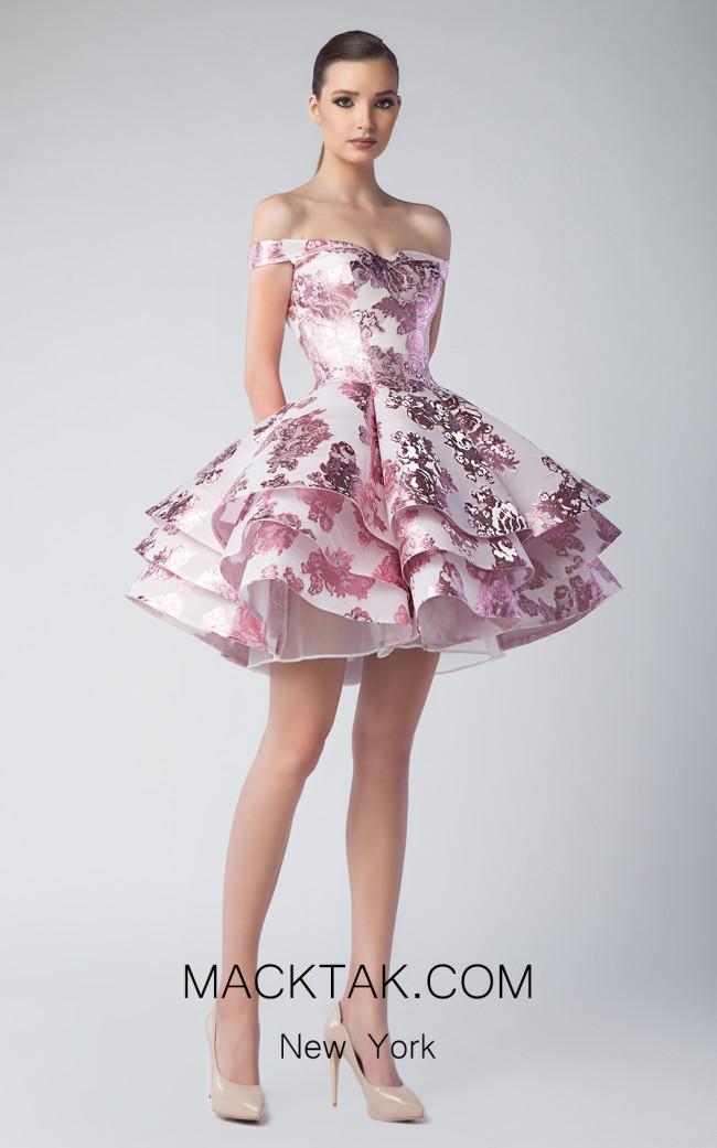 Edward Arsouni FW0249 Ivory Pink Front Dress