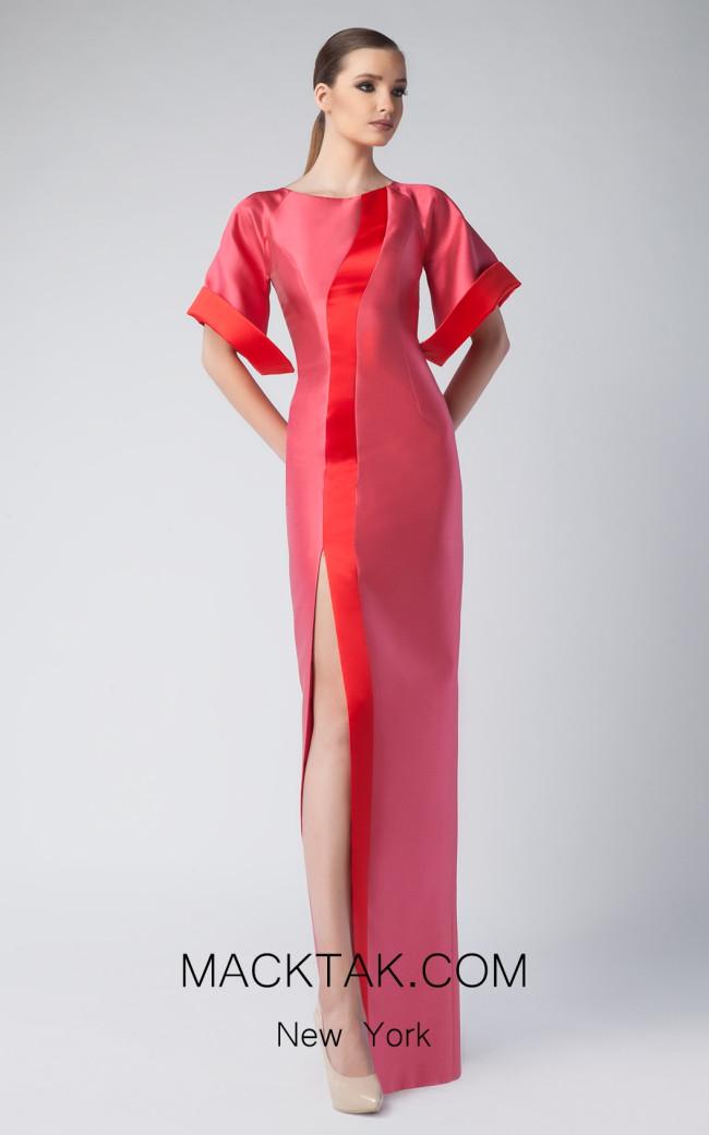 Edward Arsouni FW0260 Fuchsia Red Front Dres