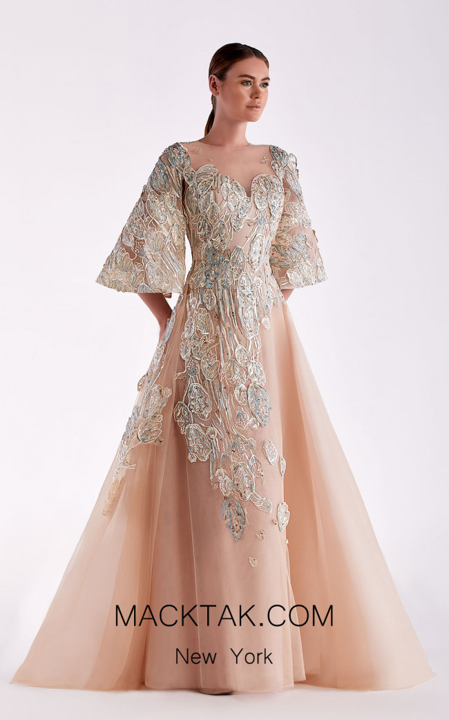 Edward Arsouni SS0460 Gold Champagne Dress