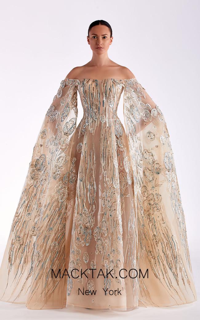Edward Arsouni SS0462 Gold Champagne Front Dress