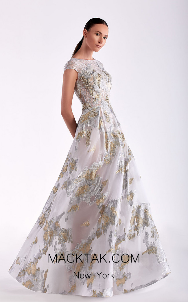 Edward Arsouni SS0469 Gold Silver Front Dress