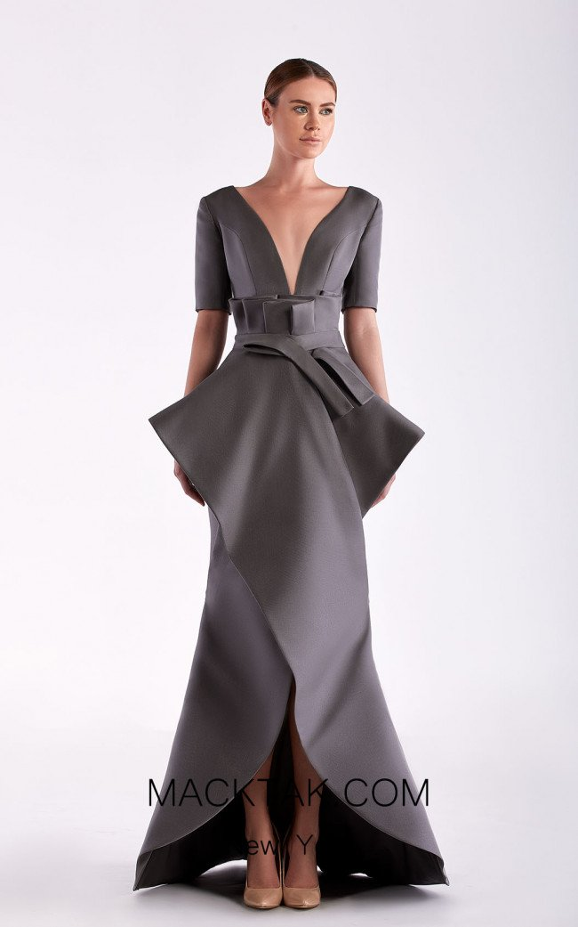Edward Arsouni SS0470 Gris Front Dress