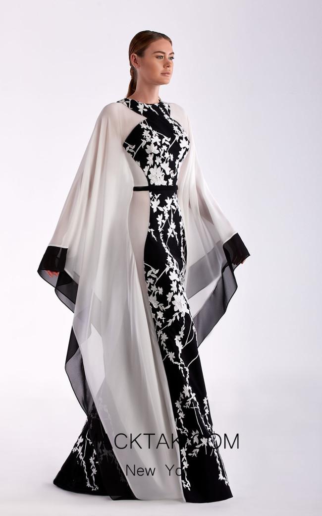 Edward Arsouni SS0474 Black White Front Dress