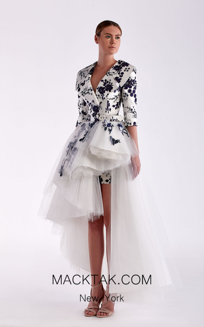 Edward Arsouni SS0478 White Navy Front Dress