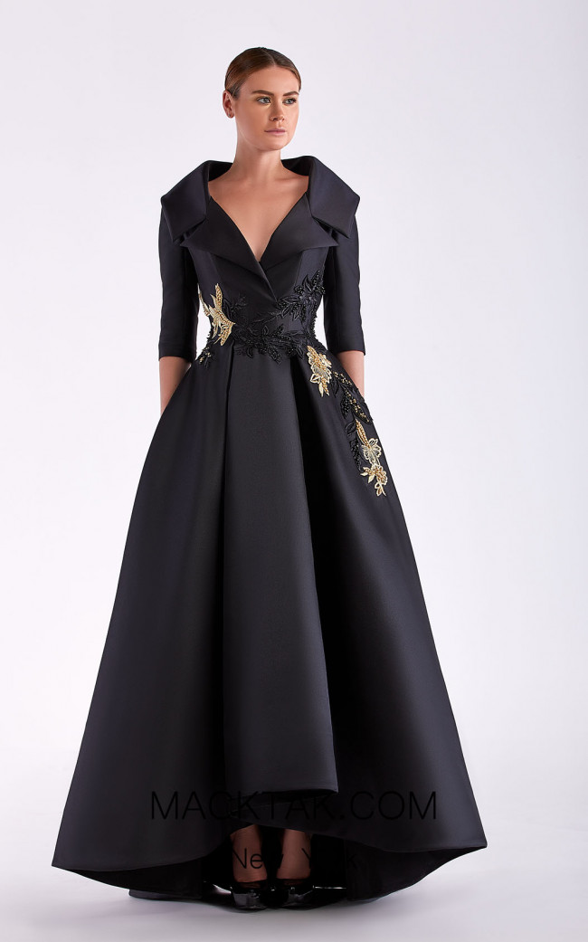Edward Arsouni SS0488 Black Gold Front Dress