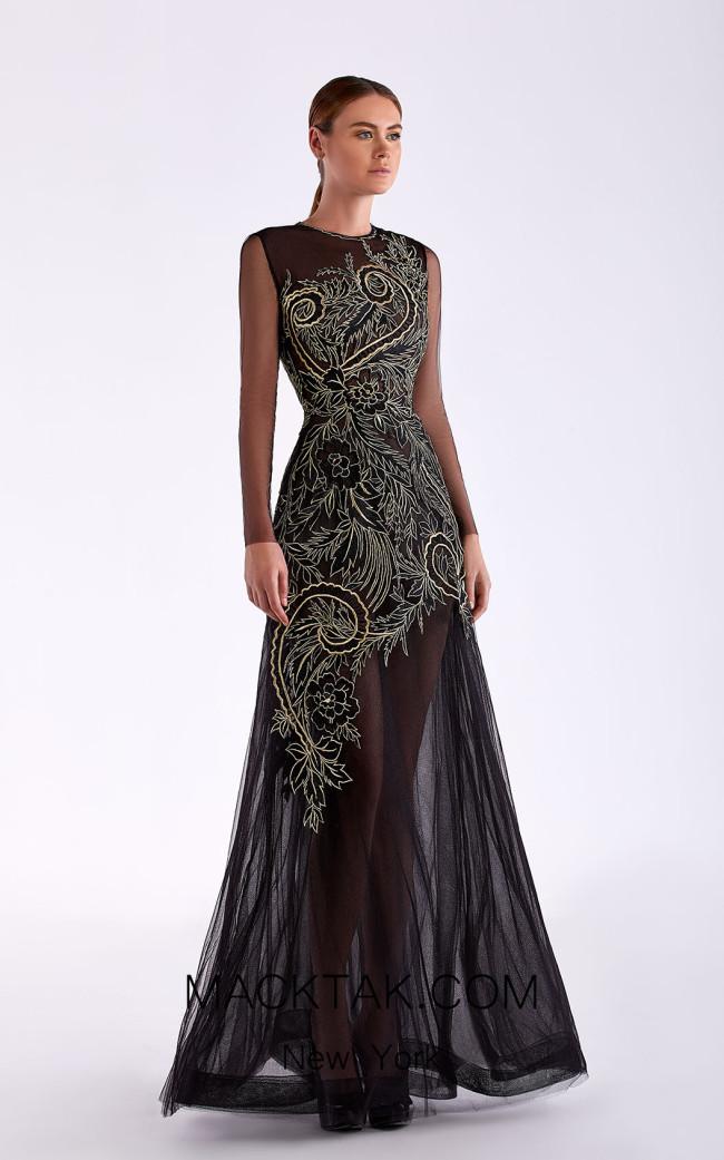 Edward Arsouni SS0492 Black Gold Front Dress