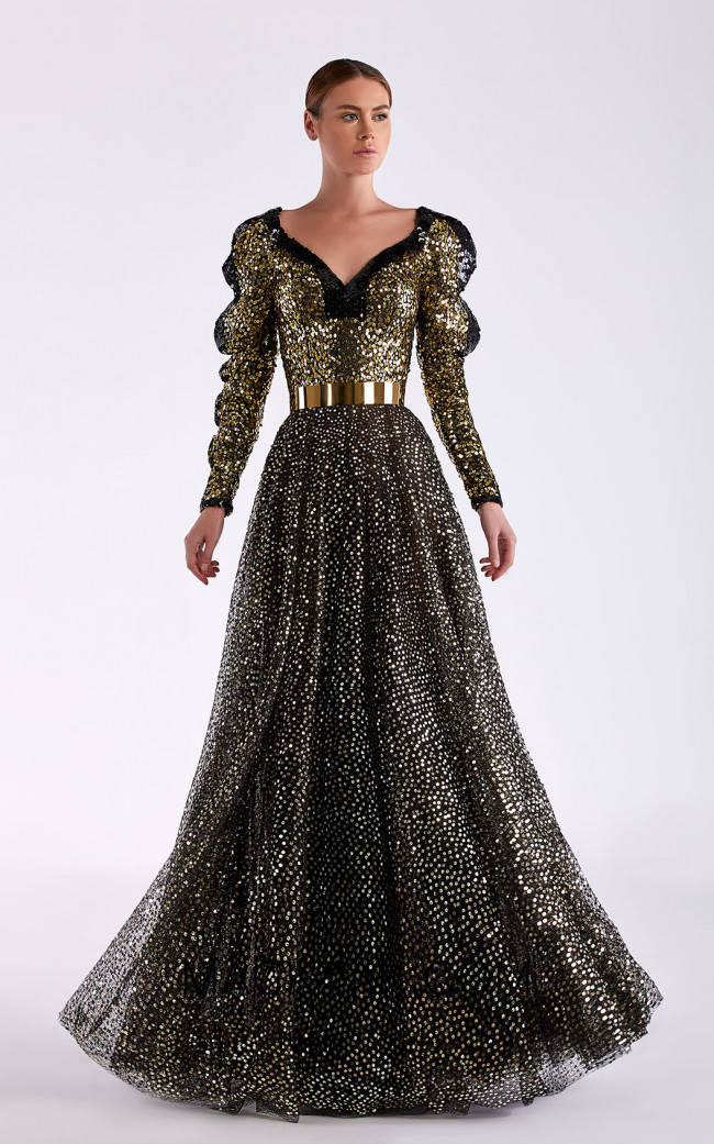 Edward Arsouni SS0497 Black Gold Front Dress