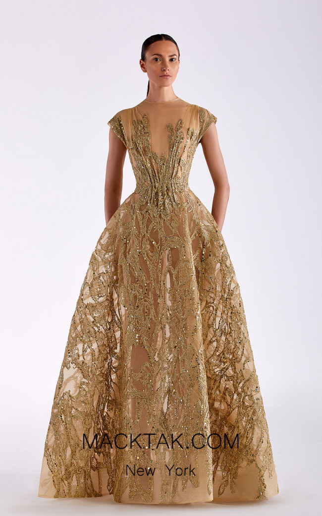 Edward Arsouni SS0503 Gold Front Dress