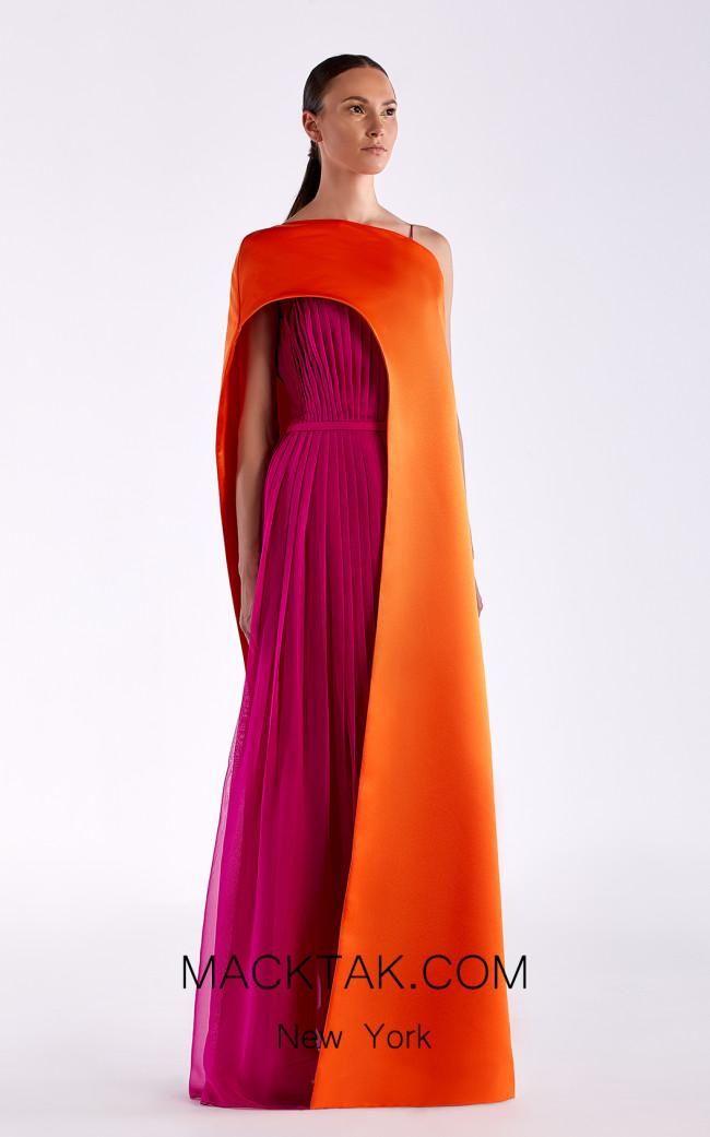 Edward Arsouni SS0515 Fuchsia Orange Front Dress