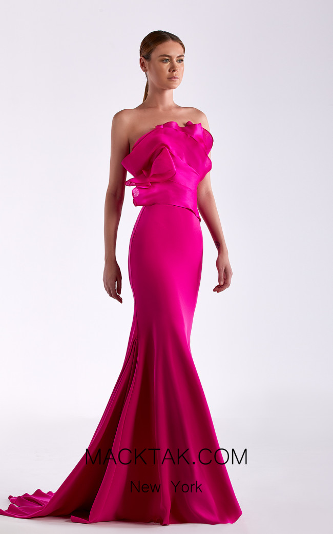 Edward Arsouni SS0516 Fuchsia Front Dress