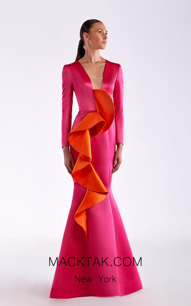 Edward Arsouni SS0518 Fuchsia Orange Front Dress