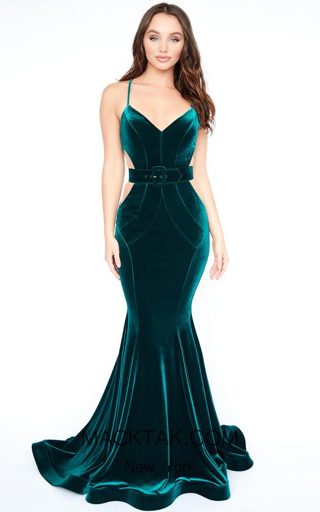 Evaje 10005 Green Nude Front Dress