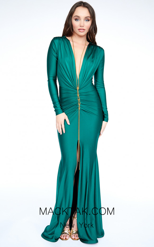 Evaje 10010 Emerald Front Dress