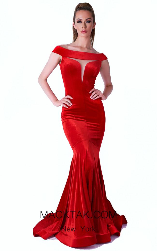Evaje 10018 Red Front Dress