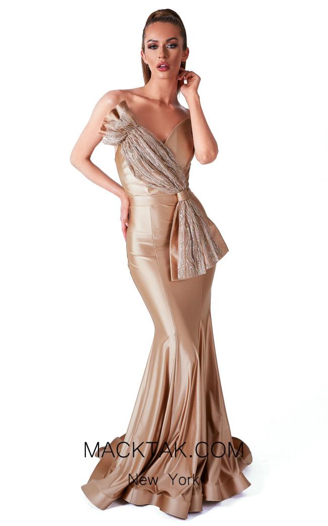 Evaje 10033 Gold Front Dress