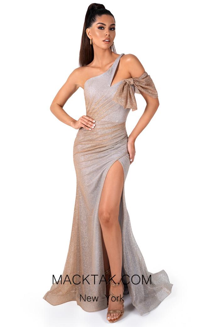 Evaje 10038 Gold Ombre Front Dress