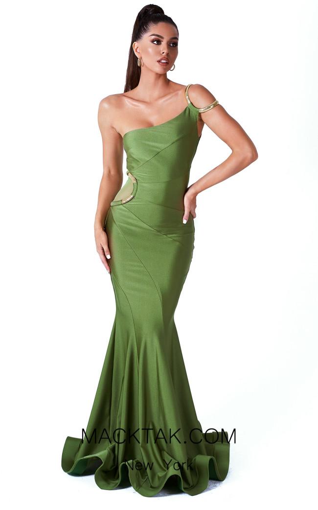 Evaje 10042 Olive Front Dress