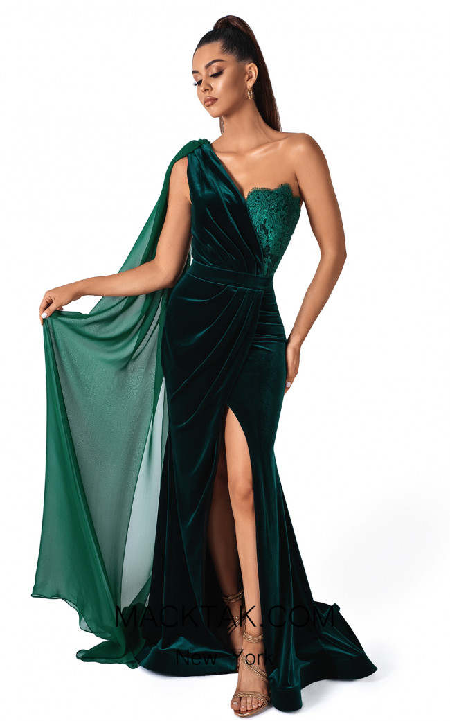 Evaje 10043 Emerald Front Dress