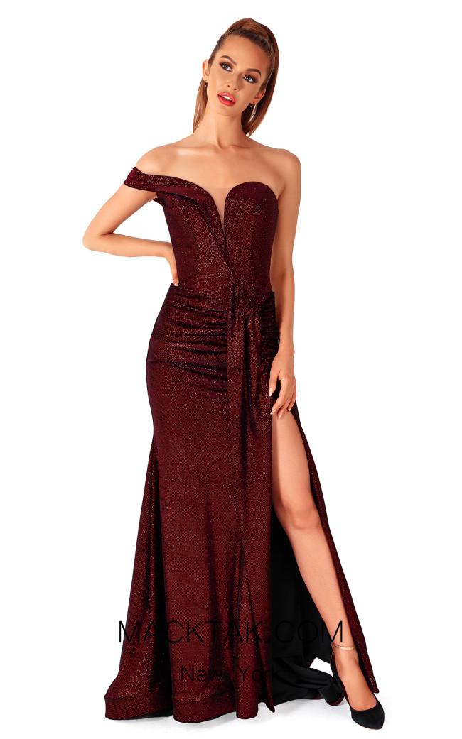Evaje 10077 Burgundy Black Front Dress