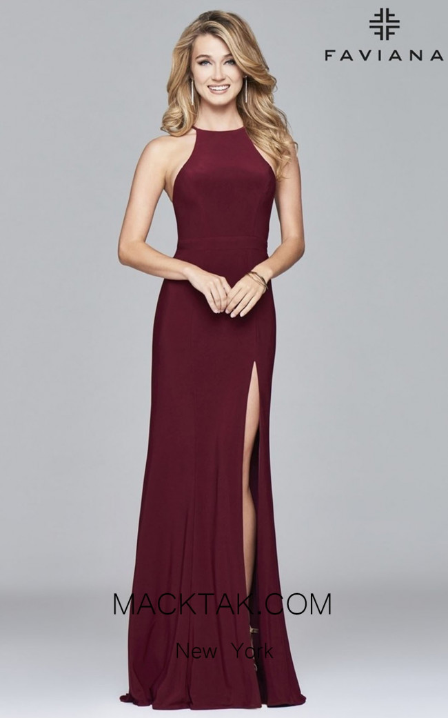 Faviana 7976 Wine Front Prom Dress