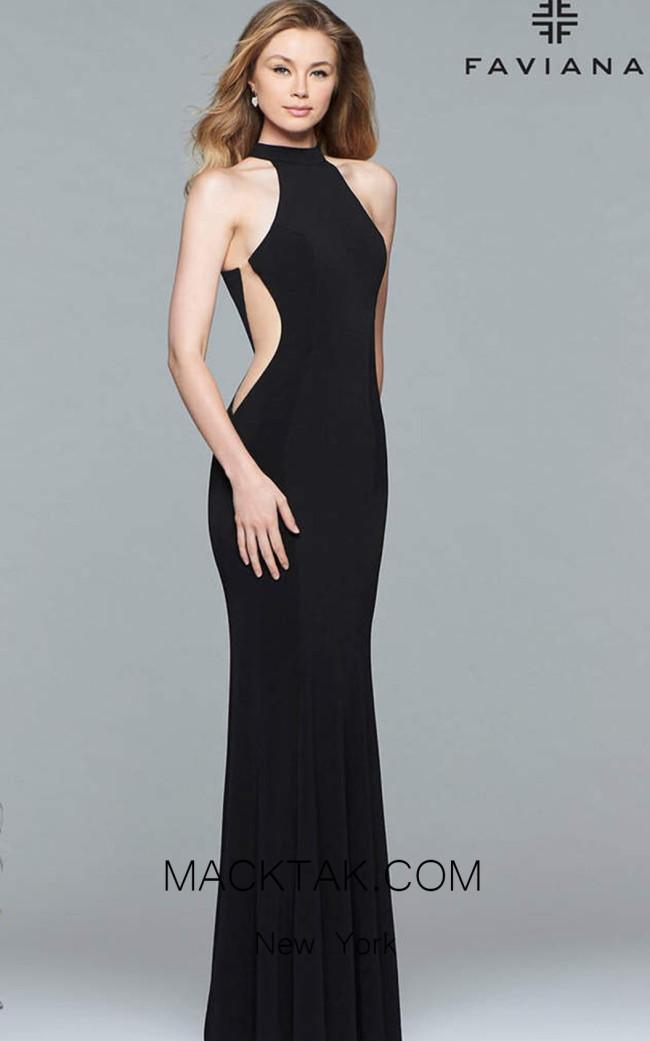 Faviana 7943 Black Front Prom Dress