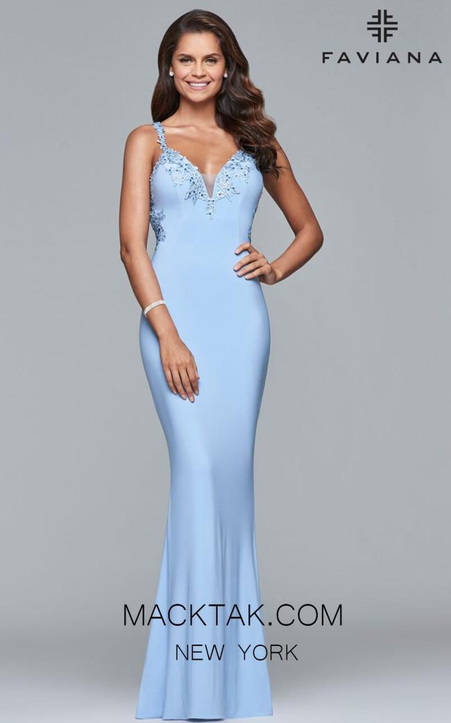Faviana S7999 Cloud Blue Front Prom Dress