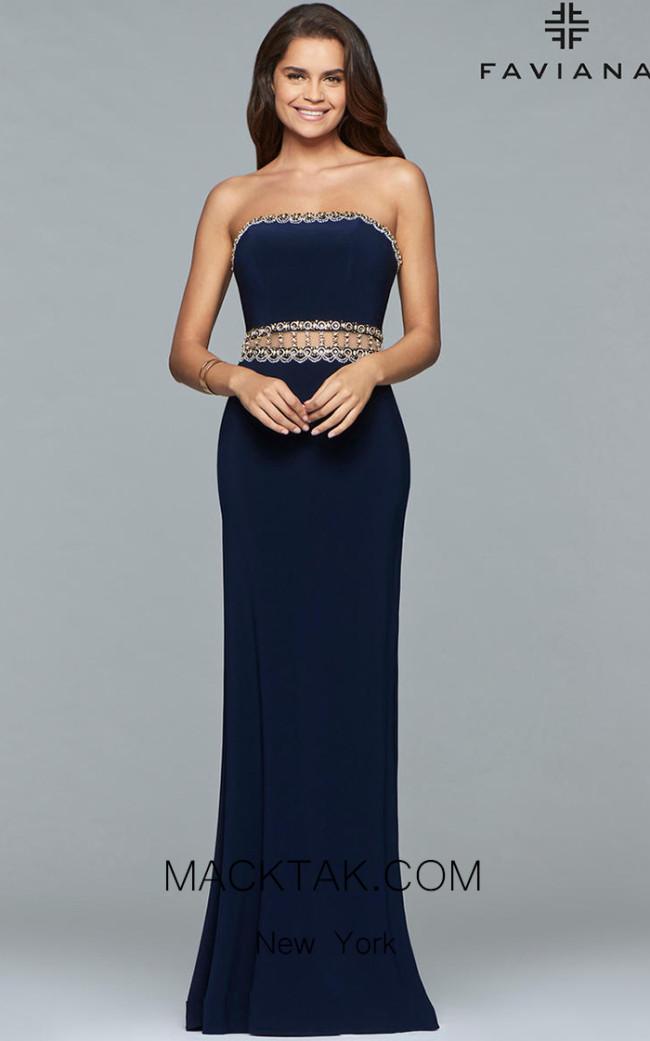 Faviana S10027 Navy Front Evening Dress
