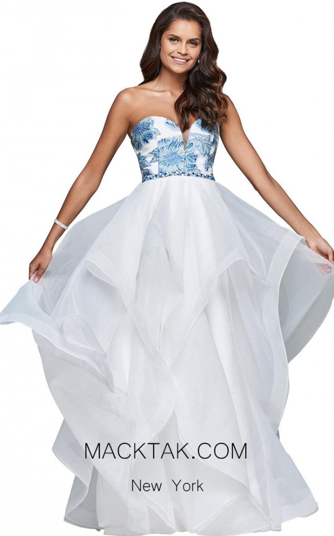 Faviana S10034 Ivory Blue Silver Front Evening Dress