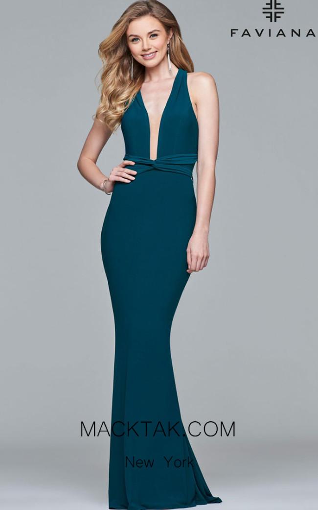 Faviana S10078 Forest Green Front Evening Dress