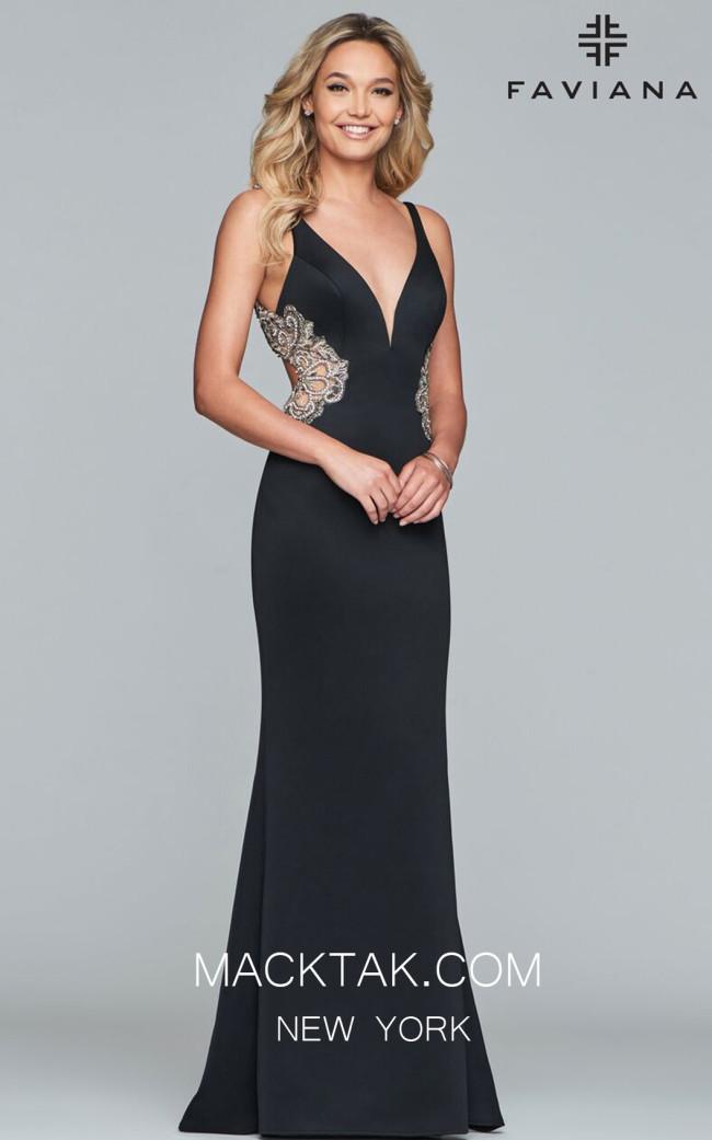Faviana S7916 Black Front Prom Dress