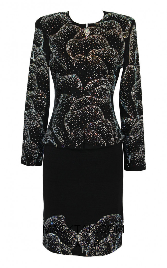 KNY H139 Black Front Knit Suit