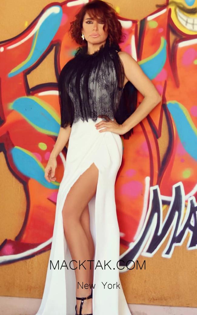 Sana Sabini 9270 Black White Front Evening Dress