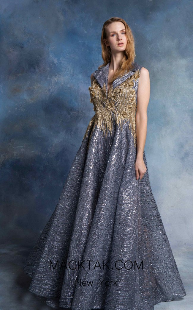 In Couture By Kiwi 4707 Blue Gold Front Dress