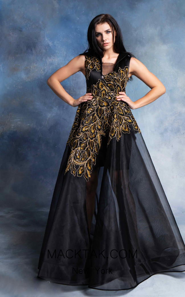 In Couture By Kiwi 4709 Black Gold Front Dress