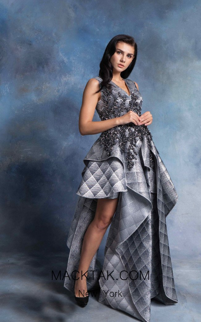 In Couture By Kiwi 4715 Gray Front Dress