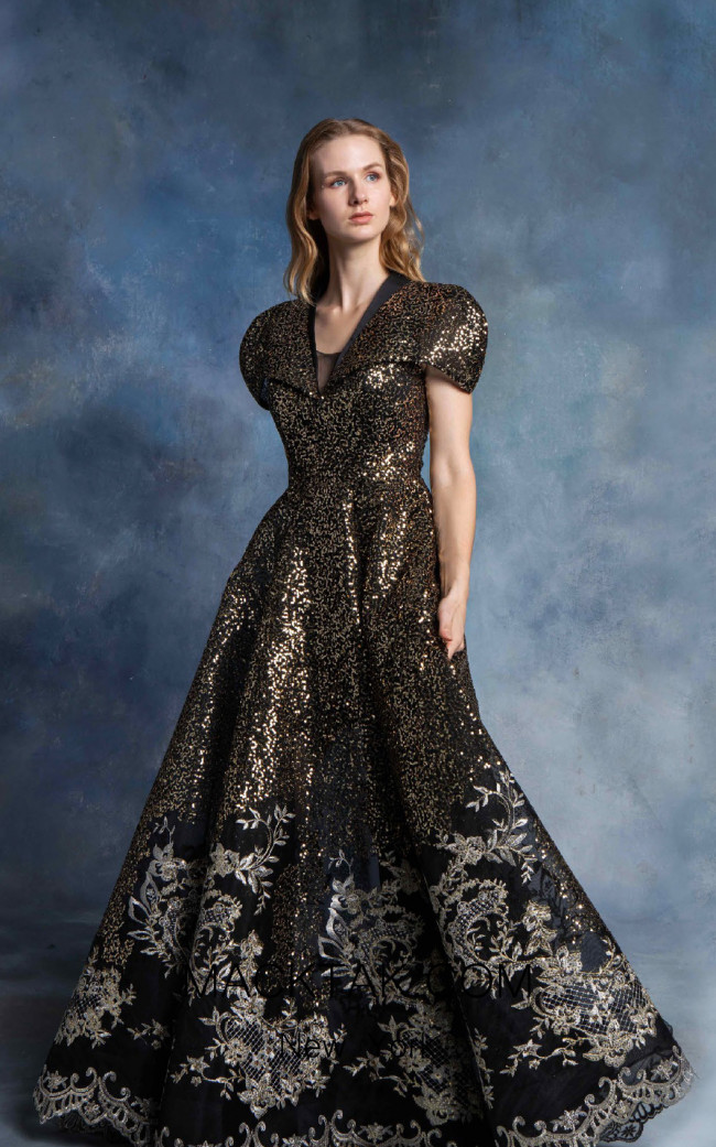 In Couture By Kiwi 4717 Black Gold Front Dress