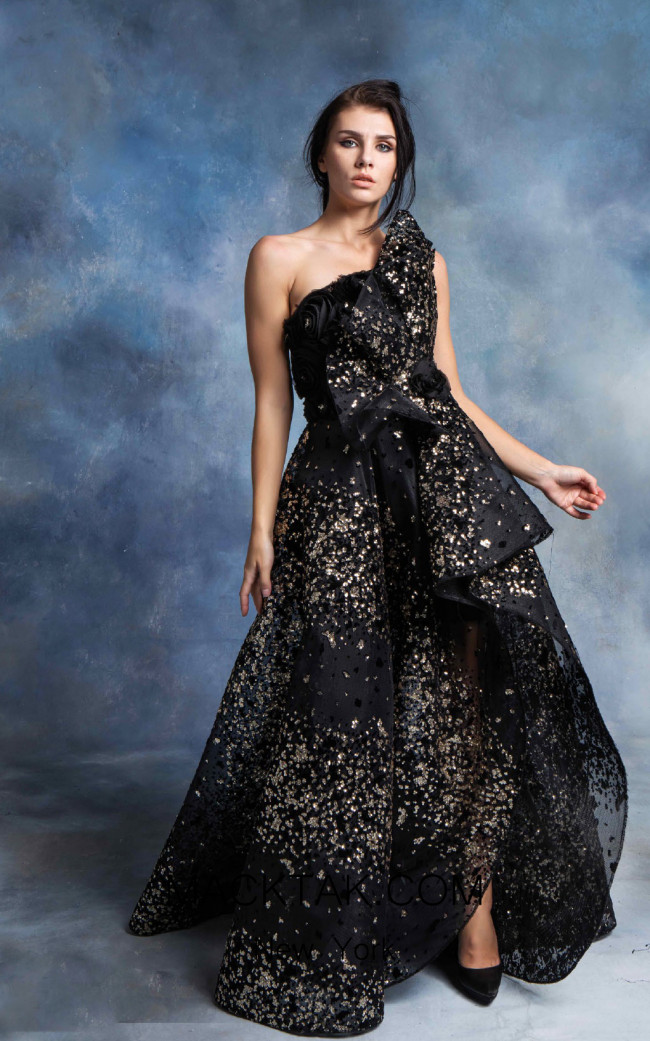 In Couture By Kiwi 4726 Black Front Dress