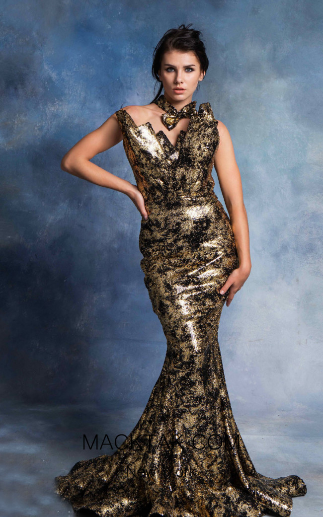 In Couture By Kiwi 4727 Black Gold Front Dress
