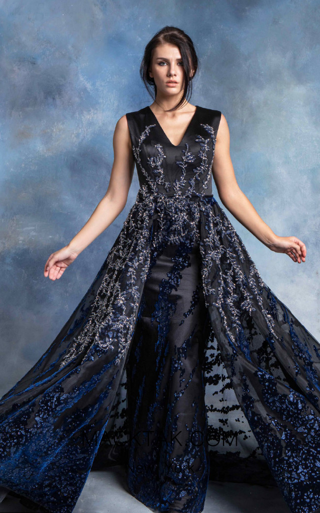 In Couture By Kiwi 4728 Black Navy Front Dress