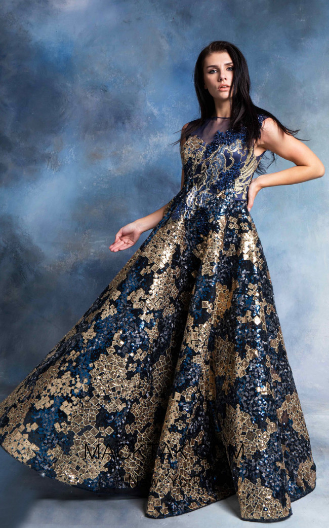 In Couture By Kiwi 4733 Blue Gold Front Dress