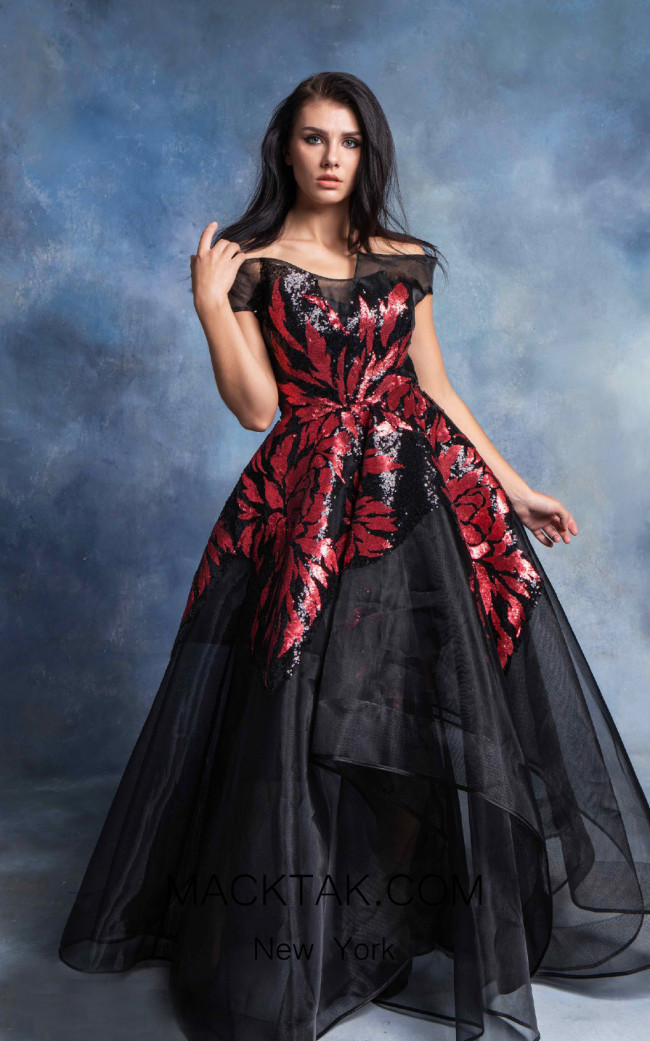In Couture By Kiwi 4745 Black Red Front Dress