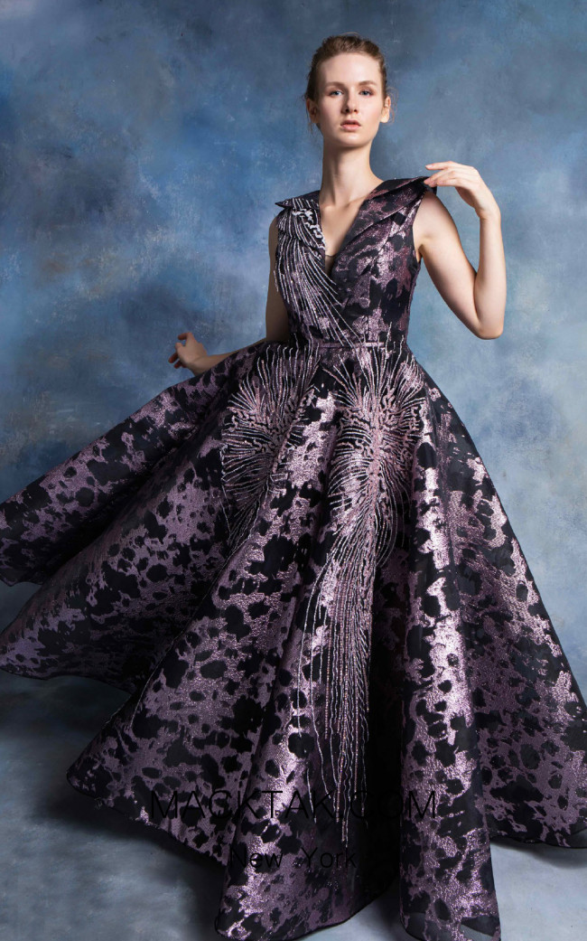 In Couture By Kiwi 4761 Black Purple Front Dress