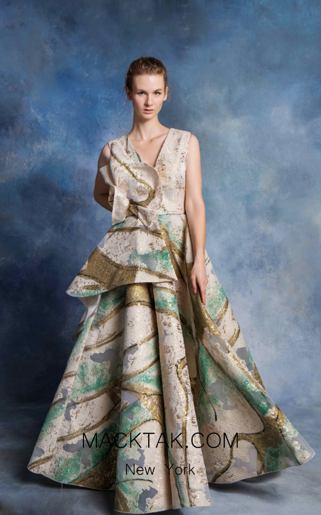 In Couture By Kiwi 4766 Champagne Multi Front Dress