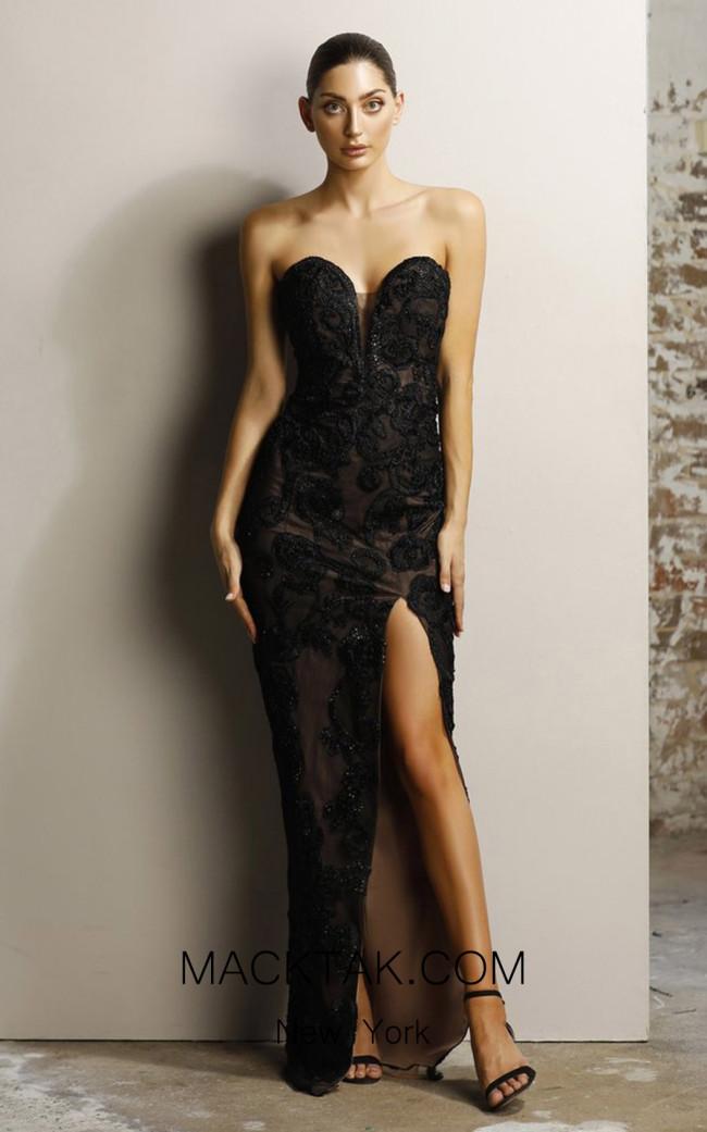 Jadore JX1067 Black Nude Front Dress
