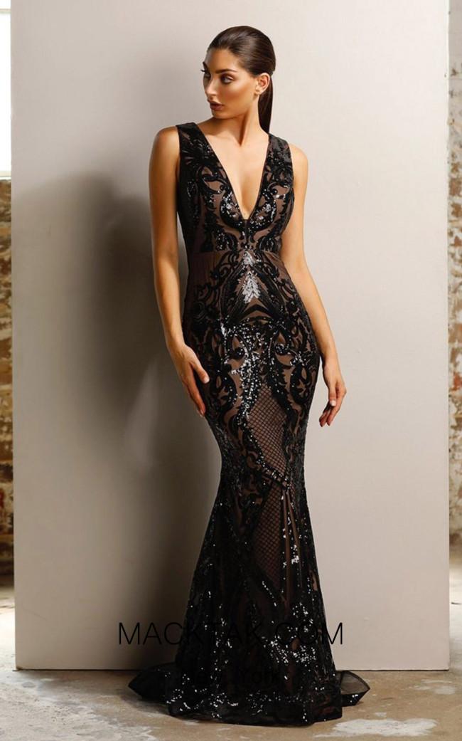 Jadore JX1091 Black Nude Front Dress