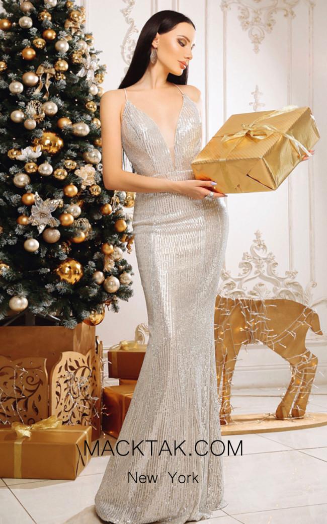 Jadore Australia JP111 Silver Nude Front Dress
