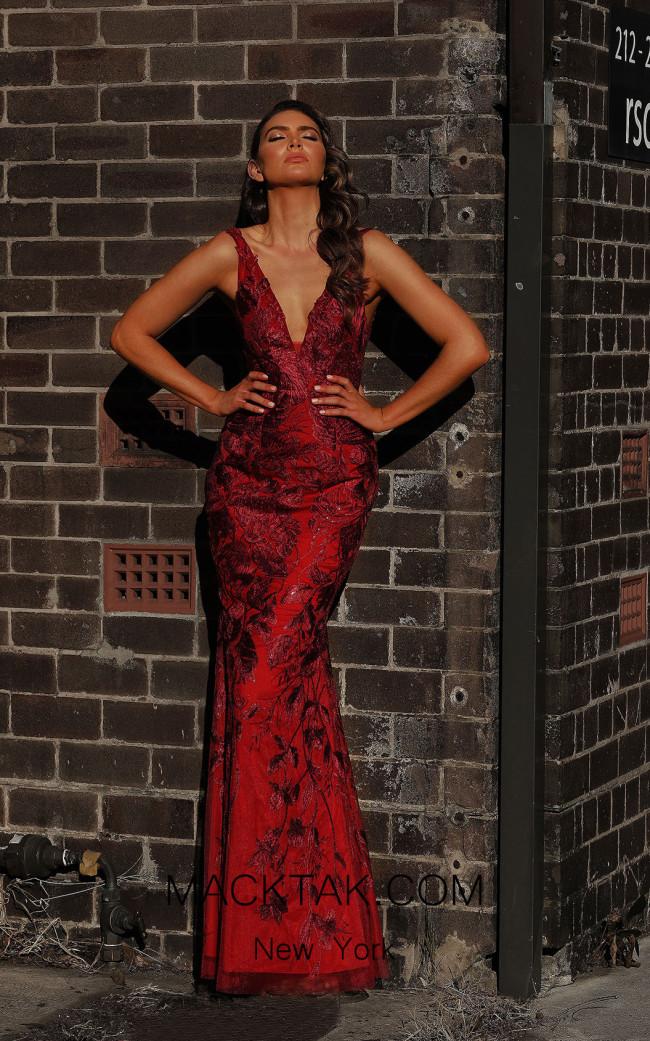 Jadore JX3045 Wine Front Dress