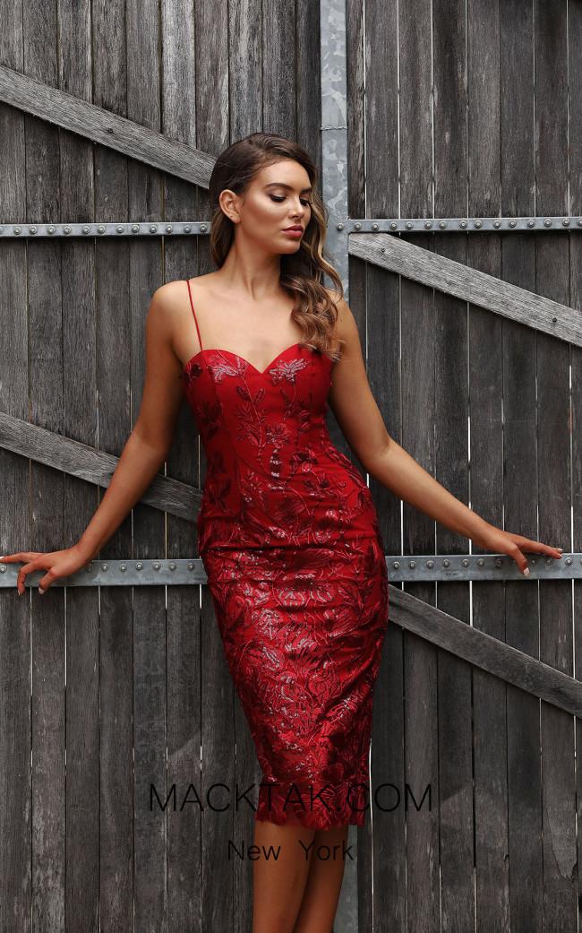 Jadore JX3046 Wine Front Dress